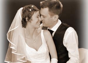 Hochzeits-Portrait in sepia